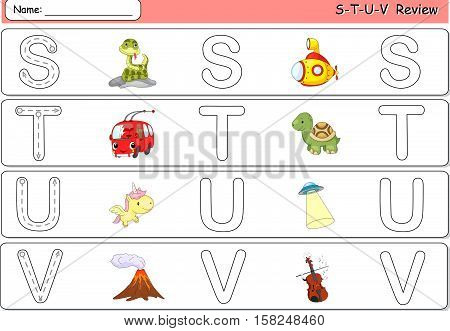 Cartoon Pizza, Pterodactyl, Queen, Question, Rhinoceros And Rocket. Alphabet Tracing Worksheet