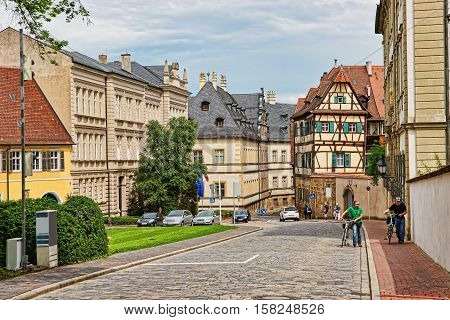 Old Street In Bamberg City Center In Germany