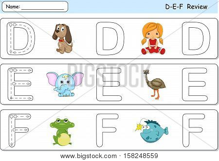 Cartoon Dog, Doll, Elephant, Emu, Frog And Fish. Alphabet Tracing Worksheet