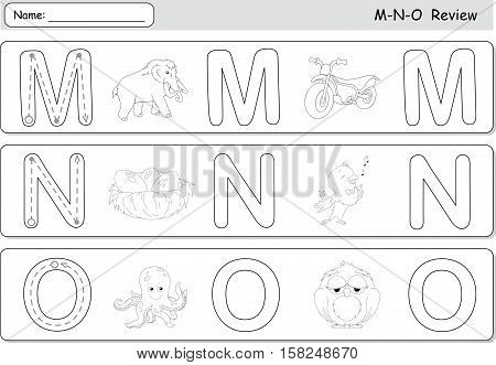 Cartoon Mammoth, Motorcycle, Nightingale, Nest, Octopus And Owl. Alphabet Tracing Worksheet
