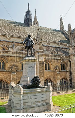 Oliver Cromwell Monument In Outside Palace Of Westminster In London