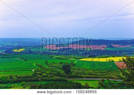 Panorama Of Vezelay Of Bourgogne Franche Comte Region In France