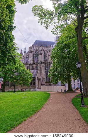 Amiens France - May 9 2012: Eveche Park and Amiens Cathedral of Notre Dame in Hotte-de-France region Picardy France