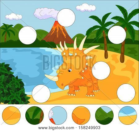 Funny Cute Styracosaurus The Background Of A Prehistoric Nature. Complete The Puzzle And Find The Mi
