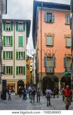 Pessina Street At City Center Of Lugano In Ticino Switzerland