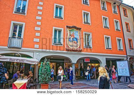 Pessina Street In City Center Of Lugano In Ticino Switzerland