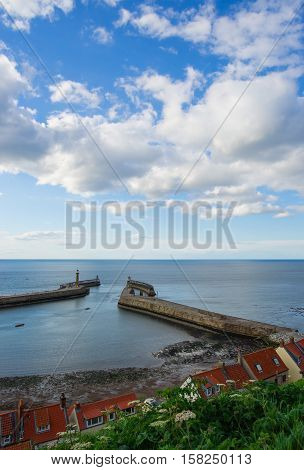 Pier In North Sea At Whitby In North Yorkshire Uk