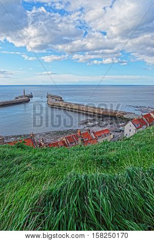 Pier In North Sea In Whitby North Yorkshire Uk