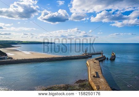 Pier In North Sea In Whitby Of North Yorkshire Uk