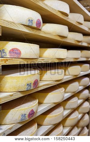 Pile Of Aging Cheese In Ripening Cellar Creamery Franche Comte