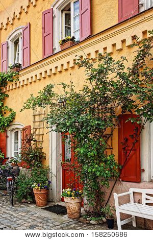 Plants Decoration Of House In City Center Old Bamberg Germany
