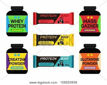 Sports nutrition, supplements, creatine, whey protein, gainer bars. Made in flat vector style