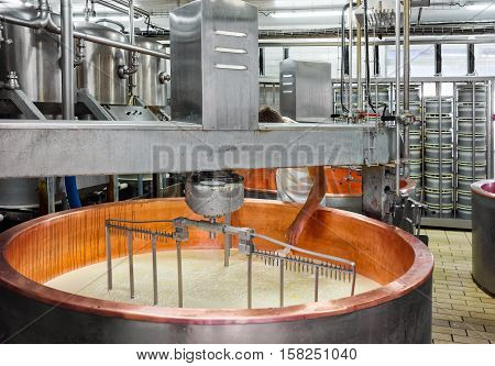 Production Of Gruyere De Comte Cheese At French Dairy