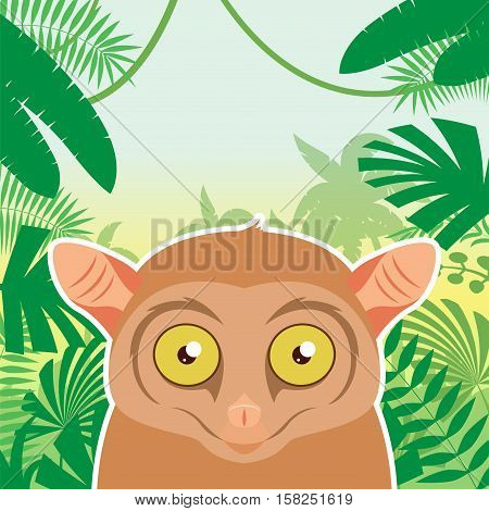 Flat Vector image of the Tarsier on the Jungle Background