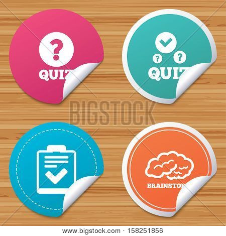 Round stickers or website banners. Quiz icons. Human brain think. Checklist with check mark symbol. Survey poll or questionnaire feedback form sign. Circle badges with bended corner. Vector
