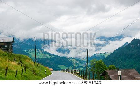 Road In Boltigen At Jaun Pass Of Fribourg Of Switzerland