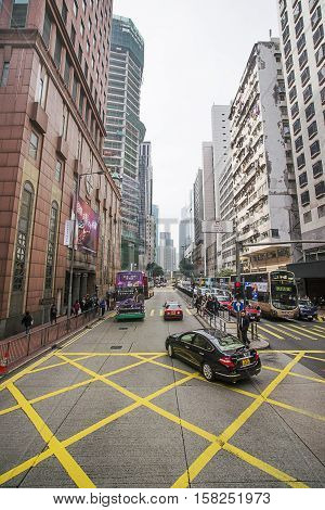 Road Traffic And Modern Skyscrapers In Hong Kong