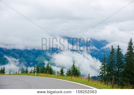 Roadway At Boltigen At Jaun Pass In Fribourg In Switzerland