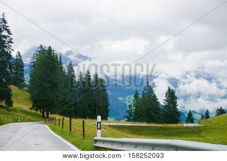 Roadway In Boltigen At Jaun Pass In Fribourg Switzerland