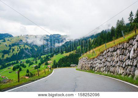 Roadway In Boltigen At Jaun Pass In Fribourg In Switzerland