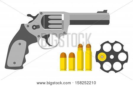 Revolver, bullets, barrel in flat style. Military police army equipment