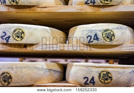 Rows Of Aging Cheese At Maturing Cellar Franche Comte Creamery