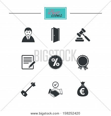 Real estate, auction icons. Home key, discount and door signs. Business agent, award medal symbols. Black flat icons. Classic design. Vector