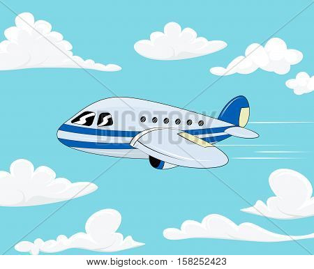 Flight of the plane in the cloudy sky. Cartoon passenger airplane travel. Color flat icons. Vector illustration