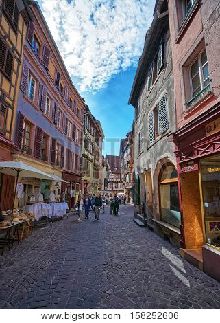 Rue Des Marchands Street In Colmar In Alsace France