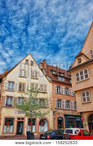 Rue Des Marchands Street In Colmar In Alsace Of France