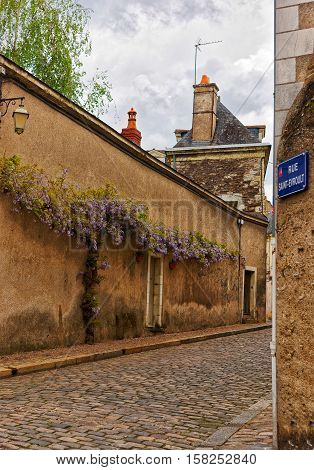 Saint Evroult Street In Angers In Loire Valley In France