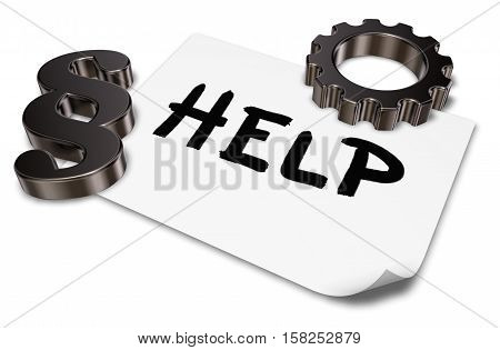the word help on paper sheet paragraph symbol and gear wheel - 3d rendering
