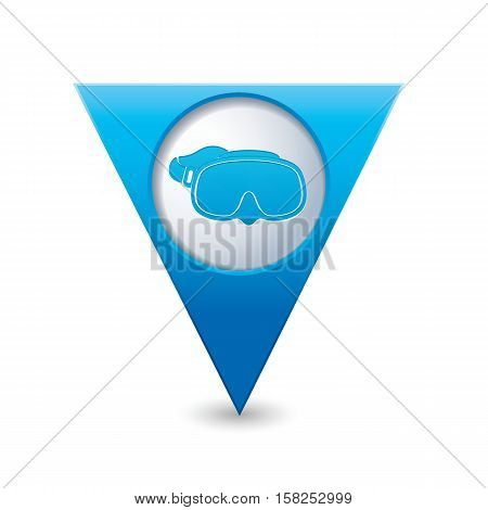 Map pointer with diving mask icon. Vector illustration