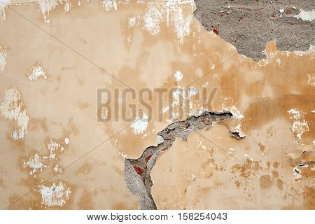 Yellow Beige Urban Concrete Wall With Copy Space Horizontal Background Texture. Street Building Cracked Brick Wall Creative Surface.