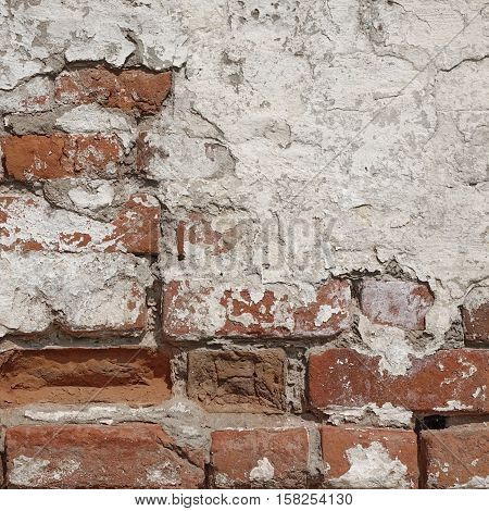 Vintage Rectangular Red White Texture. Old Red Distressed Brick Wall With Cracked White Plaster Layer. Painted Whitewashed Brickwall Grungy Textured Background. Stonewall Square Frame Grunge Background And Texture