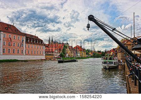 Ship Fishermen Houses And Regnitz River In Little Venice Bamberg