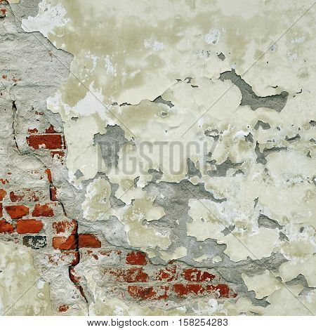 Vintage Rectangular Red White Texture. Old Red Distressed Brick Wall With Cracked White Plaster Layer. Painted Whitewashed Brickwall Grungy Background. Stonewall Square Frame Grunge Textured Background