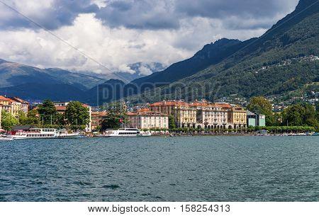 Ships At Promenade In Lugano In Ticino Switzerland