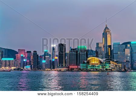 Skyline And Victoria Harbor Of Hk