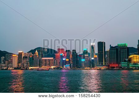 Skyline And Victoria Harbor Of Hong Kong