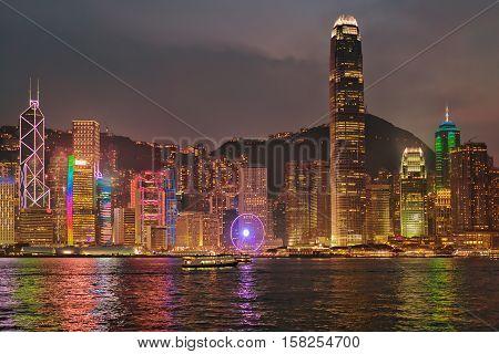 Skyline On Victoria Harbor Hong Kong