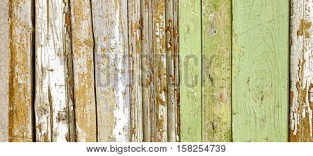 Green Barn Wooden Wall Planking Wide Texture. Old Solid Wood Slats Rustic Shabby Horizontal Background. Paint Peeled Grungy Weathered Isolated Surface. Faded Natural Wood Boards. Abstract Web Banner