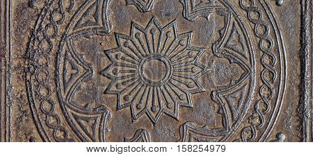 Old Cast Iron Floor Tile With  Pattern Square Background Texture