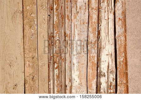 Red Barn Wooden Wall Planking Horizontal Texture. Old Retro Wood Slats Rustic Shabby Empty Background. Paint Peeled Brown Weathered Isolated Surface. Natural Wood Board Panel Grungy Facade Or Fence poster