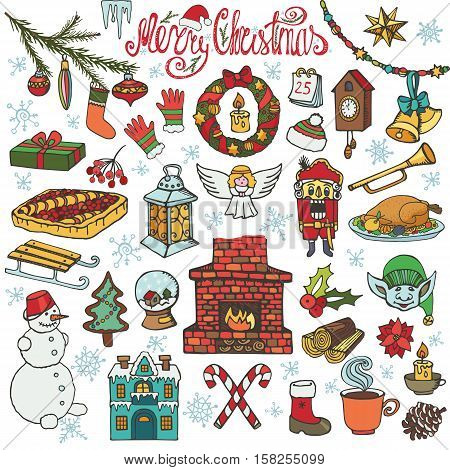 Christmas season doodle set.Knitted wear, winter decoration, snowflakes, food, snowman, fireplace with other holiday symbols, new year elements.Hand drawn vector, isolated over white background.