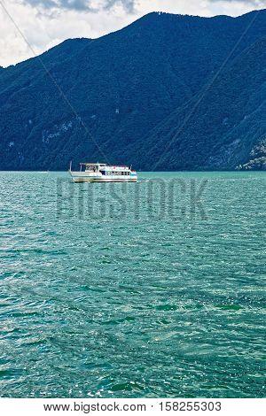 Small Passenger Ship At Promenade In Lugano Ticino Switzerland
