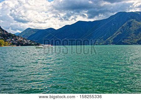 Small Passenger Ship At Promenade In Lugano In Ticino Switzerland