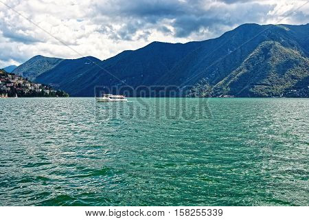 Small Passenger Ship At Promenade In Lugano Of Ticino Switzerland