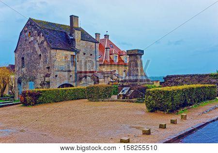 Square In Vezelay In Bourgogne Franche Comte Region In France
