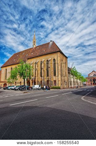 St Catherine church in Colmar Haut Rhin in Alsace France. People on the background